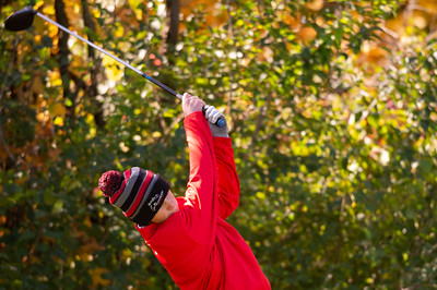 Mundelein's Carson Kowalski tees off of hole No. 14 in the Class 3A Rockford Sectional golf tournament on Thursday, Oct. 15, 2020. Randy Stukenberg for Shaw Media