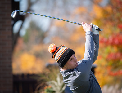 Hersey's Henry Quinn tees off of hole No. 1 in the Class 3A Rockford Sectional golf tournament on Thursday, Oct. 15, 2020. Randy Stukenberg for Shaw Media