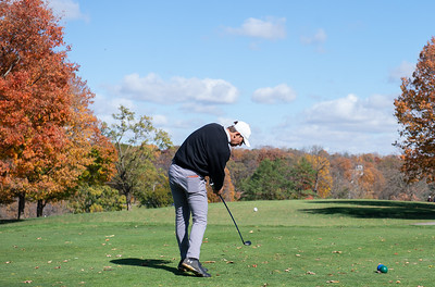 Mt. Prospect's Cole Lanert tees off of hole No. 1 in the Class 3A Rockford Sectional golf tournament on Thursday, Oct. 15, 2020. Randy Stukenberg for Shaw Media