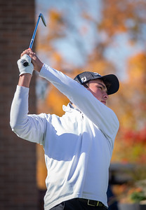 Crysta Lake Central's Eric Klutke tees off of hole No. 1 in the Class 3A Rockford Sectional golf tournament on Thursday, Oct. 15, 2020. Randy Stukenberg for Shaw Media