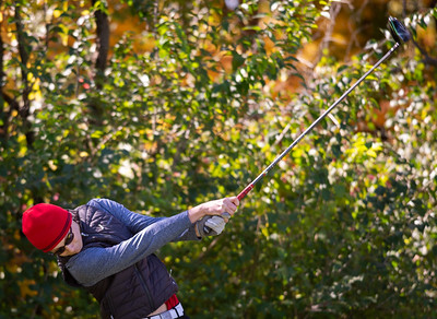 Barrington's Walker Grelle tees off of hole No. 14 in the Class 3A Rockford Sectional golf tournament on Thursday, Oct. 15, 2020. Randy Stukenberg for Shaw Media