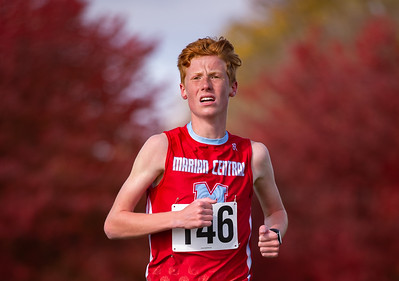 Woodstock Marian's Peter Walsdorf runs in the 2A Belvidere Regional XC race on Saturday, Oct. 24, 2020. Walsdorf crossed the finish line in first place with a 31 second lead. Randy Stukenberg for Shaw Media