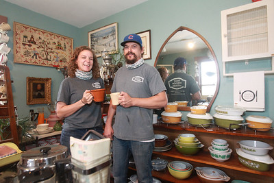 Candace H. Johnson-For Shaw Media Heather Fenzel and her brother, Ben Purrazzo, Jr. both of Lindenhurst, co- owners, hold vintage mugs for sale at their antique shop called, Family Heirloom Antiques, in Antioch. The antique shop is one of several vintage and boutique shops featured in a self-guided road trip for the upcoming Vintage Shop Hop on October 2 & 3rd in Illinois and Wisconsin. (9/26/20)
