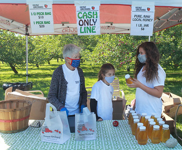 Candace H. Johnson-For Shaw Media Thalia Anest, of Green Oaks, owner, talks with her grandchildren Julia Chalifoux, 10, and Zoe DeMoon, 11, both of Libertyville about the honey they sell at the entrance of Heinz Orchard in Green Oaks. (9/19/20)