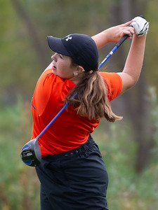 Delaney Medlyn from Crystal Lake Central hits a drive off the No. 1 tee in the Girls Class 2A Belvidere Sectional golf tournament on Monday, Oct. 4, 2021 at Timber Pointe Golf Club near Poplar Grove. Randy Stukenberg for Shaw Media