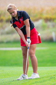 Aubrey Dingbaum from Huntley chips onto the No. 15 green in the Girls Class 2A Belvidere Sectional golf tournament on Monday, Oct. 4, 2021 at Timber Pointe Golf Club near Poplar Grove. Randy Stukenberg for Shaw Media