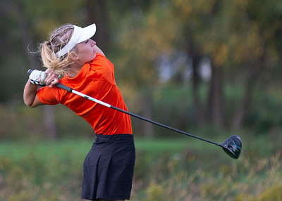 Emily Charles from St. Charles East hits a drive off the No. 1 tee in the Girls Class 2A Belvidere Sectional golf tournament on Monday, Oct. 4, 2021 at Timber Pointe Golf Club near Poplar Grove. Randy Stukenberg for Shaw Media