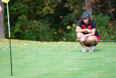 Hallie Holmes from Huntley checks out the No. 17 green in the Girls Class 2A Belvidere Sectional golf tournament on Monday, Oct. 4, 2021 at Timber Pointe Golf Club near Poplar Grove. Randy Stukenberg for Shaw Media