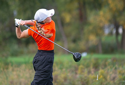 Allison Edgar from St. Charles East hits a drive off the No. 1 tee in the Girls Class 2A Belvidere Sectional golf tournament on Monday, Oct. 4, 2021 at Timber Pointe Golf Club near Poplar Grove. Randy Stukenberg for Shaw Media