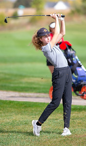 Elaina Swafford from DeKalb hits off the No. 15 fairway in the Girls Class 2A Belvidere Sectional golf tournament on Monday, Oct. 4, 2021 at Timber Pointe Golf Club near Poplar Grove. Randy Stukenberg for Shaw Media