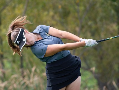 Brianna Chamoun from Sycamore hits a drive off the No. 1 tee in the Girls Class 2A Belvidere Sectional golf tournament on Monday, Oct. 4, 2021 at Timber Pointe Golf Club near Poplar Grove. Randy Stukenberg for Shaw Media