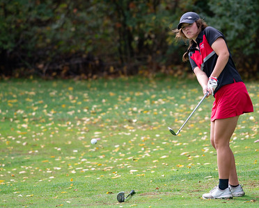 Hallie Holmes from Huntley chips off the No. 17 fairway in the Girls Class 2A Belvidere Sectional golf tournament on Monday, Oct. 4, 2021 at Timber Pointe Golf Club near Poplar Grove. Randy Stukenberg for Shaw Media