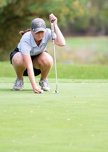 Catie Nekola places her ball on the No. 15 green in the Girls Class 2A Belvidere Sectional golf tournament on Monday, Oct. 4, 2021 at Timber Pointe Golf Club near Poplar Grove. Randy Stukenberg for Shaw Media