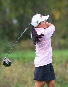 Elizabeth Tucker from Prairie Ridge hits a drive off the No. 1 tee in the Girls Class 2A Belvidere Sectional golf tournament on Monday, Oct. 4, 2021 at Timber Pointe Golf Club near Poplar Grove. Randy Stukenberg for Shaw Media