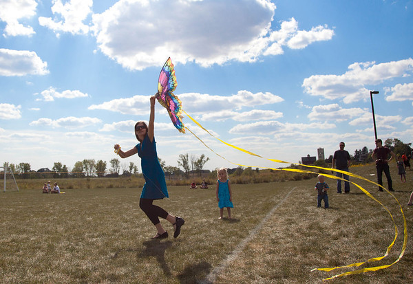 Pauline Wray comes out from Bolingbrook to Geneva's annual kite festival Saturday afternoon at Peck Farm.