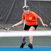 St. Charles East's Sarah Church returns the ball during her No. 1 singles match against Tessa Masa of St. Charles North (not pictured) Tuesday at St. Charles North.