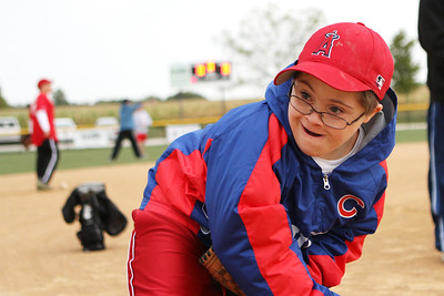 Mike Greene - mgreene@shawmedia.com Joey Picardi, 11 of Bartlett, follows through while practicing pitching during the first annual Challenger Jamboree hosted by the Tri Cities Little League Friday, September 7, 2012 at Randall Oaks Park in West Dundee. Challenger is a division of Little League for mentally and physically challenged children, allowing them to play organized baseball.
