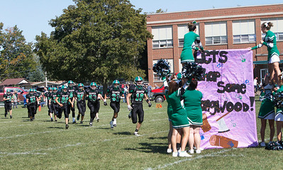 Candace H. Johnson/For the Northwest Herald Alden-Hebron's varsity football team returns to the field for the second half at Alden-Hebron High School.