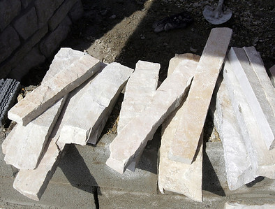 H. Rick Bamman -hbamman@shawmedia.com Limestone veneer pieces ready for placement on the memorial wall.