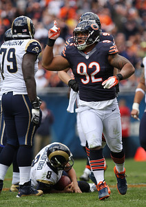 Mike Greene - mgreene@shawmedia.com Bears defensive tackle Stephen Paea celebrates after sacking St. Louis quarterback Sam Bradford during the first quarter of a game Sunday, September 23, 2012 at Soldier Field in Chicago. Chicago (2-1) defeated St. Louis (1-2) 23-6.