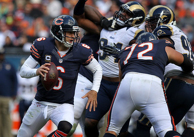 Mike Greene - mgreene@shawmedia.com Bears quarterback Jay Cutler scrambles during the fourth quarter of a game against the St. Louis Rams Sunday, September 23, 2012 at Soldier Field in Chicago. Chicago (2-1) defeated St. Louis (1-2) 23-6.