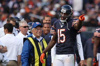 Mike Greene - mgreene@shawmedia.com Bears wide receiver Brandon Marshall complains to an official during the fourth quarter of a game against the St. Louis Rams Sunday, September 23, 2012 at Soldier Field in Chicago. Chicago (2-1) defeated St. Louis (1-2) 23-6.