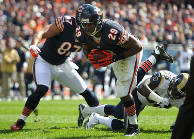 Mike Greene - mgreene@shawmedia.com Bears running back Michael Bush breaks into the endzone for a touchdown during the second quarter of a game against the St. Louis Rams Sunday, September 23, 2012 at Soldier Field in Chicago. Chicago (2-1) defeated St. Louis (1-2) 23-6.