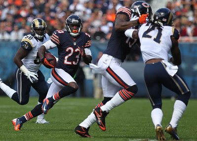 Mike Greene - mgreene@shawmedia.com Bears wide receiver Devin Hester follows a block from teammate Brandon Marshall on St. Louis cornerback Janoris Jenkins during the first quarter of a game Sunday, September 23, 2012 at Soldier Field in Chicago. Chicago (2-1) defeated St. Louis (1-2) 23-6.