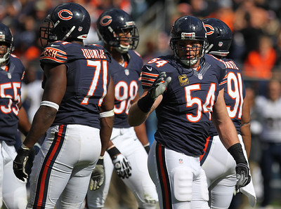Mike Greene - mgreene@shawmedia.com Bears linebacker Brian Urlacher takes defensive signals from the sideline during the third quarter of a game against the St. Louis Rams Sunday, September 23, 2012 at Soldier Field in Chicago. Chicago (2-1) defeated St. Louis (1-2) 23-6.