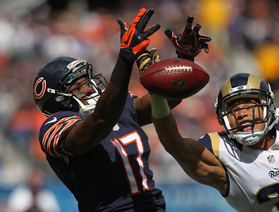 Mike Greene - mgreene@shawmedia.com Bears wide receiver Alshon Jeffery reacts as St. Louis cornerback Cortland Finnegan breaks up a pass during the first quarter of a game Sunday, September 23, 2012 at Soldier Field in Chicago. Chicago (2-1) defeated St. Louis (1-2) 23-6.