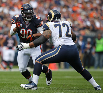 Mike Greene - mgreene@shawmedia.com Bears defensive end Julius Peppers works against St. Louis tackle Wayne Hunter during the first quarter of a game Sunday, September 23, 2012 at Soldier Field in Chicago. Chicago (2-1) defeated St. Louis (1-2) 23-6.