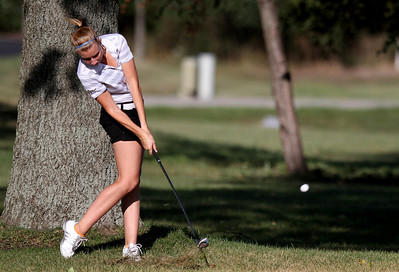 Mike Greene - mgreene@shawmedia.com Prairie Ridge's Robin Manarik hits her second shot on hole 4 during a dual meet against Crystal Lake Central Wednesday, September 19, 2012 at Turnberry Country Club in Lakewood. Crystal Lake Central won the meet.