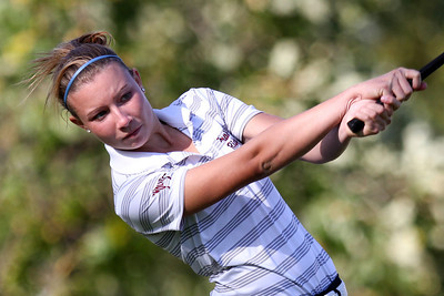 Mike Greene - mgreene@shawmedia.com Prairie Ridge's Robin Manarik tees off on hole 4 during a dual meet against Crystal Lake Central Wednesday, September 19, 2012 at Turnberry Country Club in Lakewood. Crystal Lake Central won the meet.