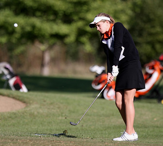 Mike Greene - mgreene@shawmedia.com Crystal Lake Central's Emily Jean chips onto the green on hole 3 during a dual meet against Prairie Ridge Wednesday, September 19, 2012 at Turnberry Country Club in Lakewood. Crystal Lake Central won the meet.