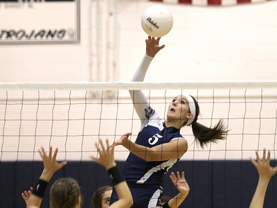 Mike Greene - mgreene@shawmedia.com Cary-Grove's Kayli Trausch hits the ball over the net during a match against Crystal Lake South Thursday, September 27, 2012 at Cary-Grove High School in Cary. Crystal Lake South (19-6) defeated Cary-Grove (10-9) in straight sets.
