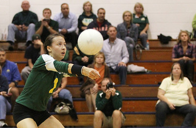 Mike Greene - mgreene@shawmedia.com Crystal Lake South's Katie Meyers bumps the ball during a match against Cary-Grove Thursday, September 27, 2012 at Cary-Grove High School in Cary. Crystal Lake South (19-6) defeated Cary-Grove (10-9) in straight sets.