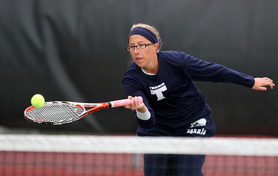 Mike Greene - mgreene@shawmedia.com Cary-Grove's Victoria Pierce returns a volley near the net during a first round match against Crystal Lake South's Marisa Thome in the Cary-Grove Invite Saturday, September 22, 2012 at Cary-Grove High School. Thome won the match 6-0, 6-2.