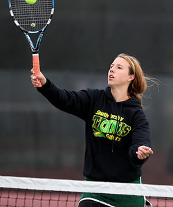 Mike Greene - mgreene@shawmedia.com Crystal Lake South's Kelsey Laktask returns a volley near the net during a first round doubles match against Cary-Grove in the Cary-Grove Invite Saturday, September 22, 2012 at Cary-Grove High School. Crystal Lake South won the match 6-1, 6-2.