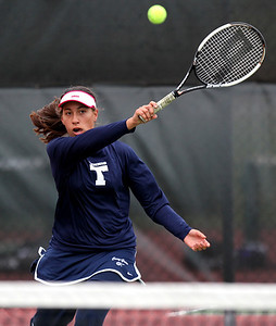 Mike Greene - mgreene@shawmedia.com Cary-Grove's Jessica Hinojosa returns a volley during a first round match against Crystal Lake South's Julia Thome in the Cary-Grove Invite Saturday, September 22, 2012 at Cary-Grove High School. Thome won the match 6-1, 6-0.