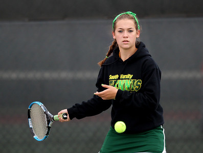 Mike Greene - mgreene@shawmedia.com Crystal Lake South's Becca Kolarczyk prepares to return a volley during a first round doubles match against Cary-Grove in the Cary-Grove Invite Saturday, September 22, 2012 at Cary-Grove High School. Crystal Lake South won the match 6-0, 6-1.