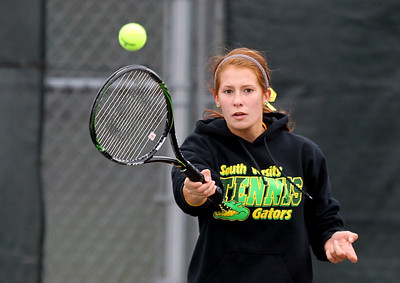 Mike Greene - mgreene@shawmedia.com Crystal Lake South's Caitlin Theros returns a volley during a first round doubles match against Cary-Grove in the Cary-Grove Invite Saturday, September 22, 2012 at Cary-Grove High School. Crystal Lake South won the match 6-0, 6-1.