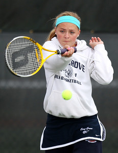 Mike Greene - mgreene@shawmedia.com Cary-Grove's Abby Jakubicek returns a volley during a first round doubles match against Crystal Lake South in the Cary-Grove Invite Saturday, September 22, 2012 at Cary-Grove High School. Crystal Lake South won the match 6-1, 6-0.