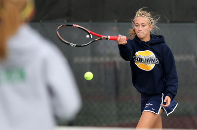 Mike Greene - mgreene@shawmedia.com Cary-Grove's Alyssa Derer returns a volley during a first round doules match against Crystal Lake South in the Cary-Grove Invite Saturday, September 22, 2012 at Cary-Grove High School. Crystal Lake South won the match 6-1, 6-2.