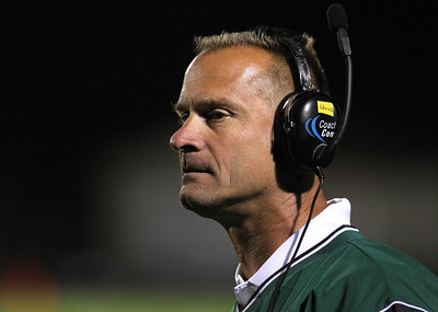 Mike Greene - mgreene@shawmedia.com Crystal Lake South head coach Chuck Ahsmann watches the field in the third quarter of a conference game against Cary-Grove Friday, September 7, 2012 at Crystal Lake South High School. Cary-Grove won the game 17-3.