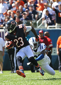 Josh Peckler - Jpeckler@shawmedia.com The Chicago Bears' Devin Hester brakes away from the Indianapolis Colt's Sergio Brown during the third quarter at Soldier Field Sunday, September 9, 2012. The Bears defeated the Colts 41- 21 in the season opener in Chicago.