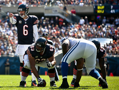 Josh Peckler - Jpeckler@shawmedia.com The Chicago Bears quarterback Jay Cutler points out a Indianapolis  defender during the third quarter at Soldier Field Sunday, September 9, 2012. The Bears defeated the Colt 41- 21 in the season opener in Chicago.
