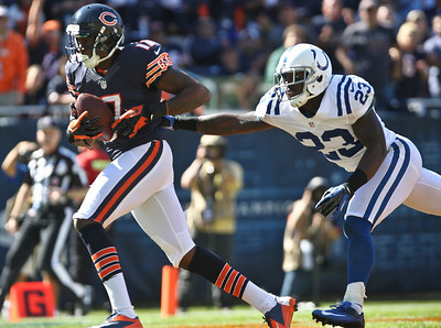 Josh Peckler - Jpeckler@shawmedia.com The Chicago Bears' Alshon Jeffery runs towards the end zone being chased by the Colt's Vontae Davis during the third quarter at Soldier Field Sunday, September 9, 2012. The Bears defeated the Colt 41- 21 in the season opener in Chicago.