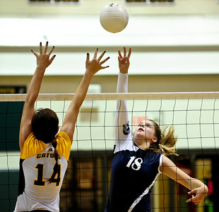 Josh Peckler - Jpeckler@shawmedia.com Cary-Grove's Ally Vasquez attempts to tip the ball past Crystal Lake South's Avalon Nero during the first game at Crystal Lake South High School Tuesday, September 4, 2012.