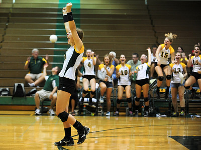 Josh Peckler - Jpeckler@shawmedia.com Crystal Lake South's Nicole Jurkash celebrates the final point of the match after defeating Cary-Grove 2-0 at Crystal Lake South High School Tuesday, September 4, 2012.