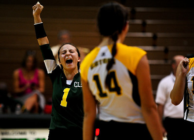 Josh Peckler - Jpeckler@shawmedia.com Crystal Lake South libero Katie Meyers, celebrates a point against Cary-Grove during the first game at Crystal Lake South High School Tuesday, September 4, 2012. Crystal Lake South went on to win the match 2-0.
